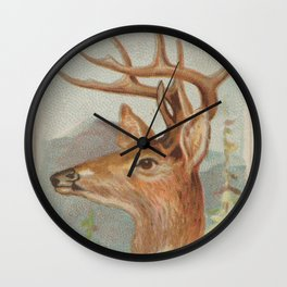 Vintage White Tail Deer Illustration (1888) Wall Clock