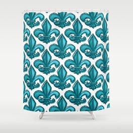 Cyan Fleur de Lis Shower Curtain