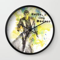 david tennant Wall Clocks featuring Doctor Who 10th Doctor David Tennant by idillard