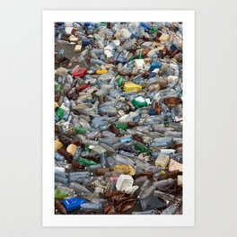 pollution by plastic bottles Art Print