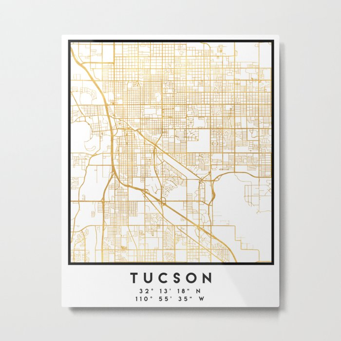 photo regarding Printable Map of Tucson Az referred to as TUCSON ARIZONA Metropolis Highway MAP Artwork Metallic Print through deificusart