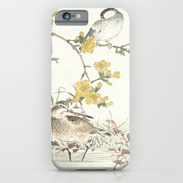 Birds and flowers - Japanese inspired watercolour iPhone Case