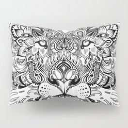 Black And White Geometric pattern mandala lion face Pillow Sham