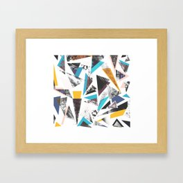 Colorful textured triangles - transparent Framed Art Print