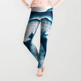 Blue White Agate #1 #gem #decor #art #society6 Leggings