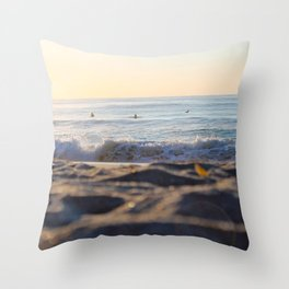 Surfers in the Morning Light Throw Pillow