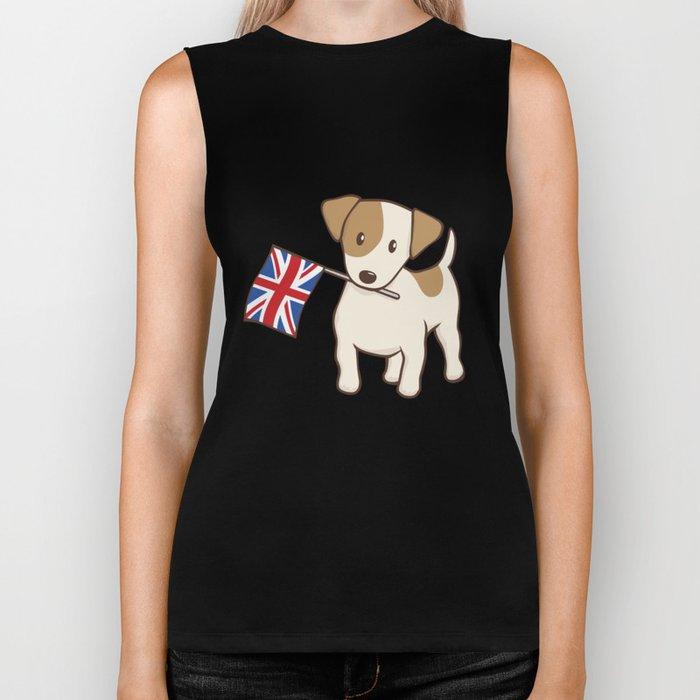 Jack Russell Terrier and Union Jack Illustration Biker Tank
