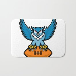 Great Horned Owl American Football Mascot Bath Mat
