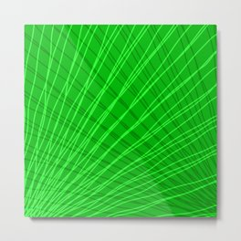 Rays of green light with mirrored light waves on mesh. Metal Print