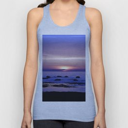 Blue and Purple Sunset on the Sea Unisex Tank Top