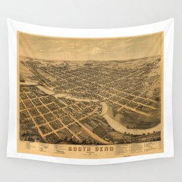 Aerial View of South Bend, Indiana (1874) Wall Tapestry