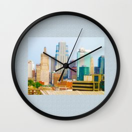 Downtown Kansas City Skyline Tilt Shift Photograph Wall Clock