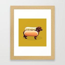 Dachshund Wiener Hot Dog Framed Art Print