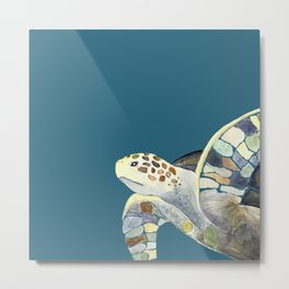 Watercolor sea turtle with teal background Metal Print