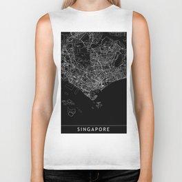 Singapore Black Map Biker Tank