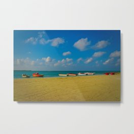 Colorful Boats Adorn the Tranquil Beach Metal Print