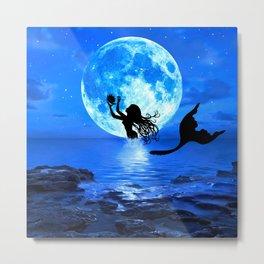 Moonlight Mermaid - Blue Metal Print