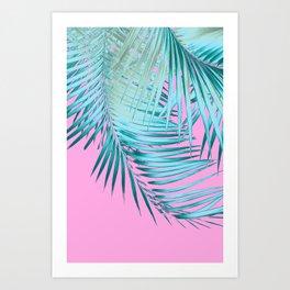 Palm Leaves Pink Blue Vibes #1 #tropical #decor #art #society6 Art Print