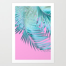 Palm Leaves Pink Blue Vibes #1 #tropical #decor #art #society6 Art Print