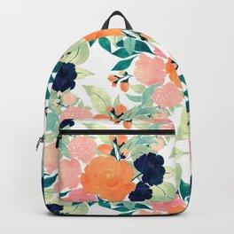 Elegant Pink Blue & Orange Floral Watercolor paint Backpack