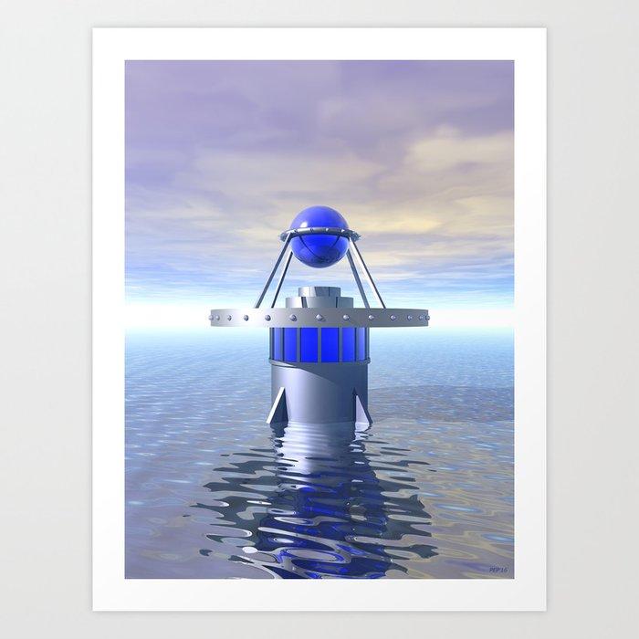 Blue Sci Fi Structure Art Print