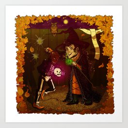 Witch and Wizard of Halloween Art Print