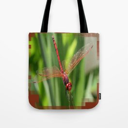 Red Skimmer or Firecracker Dragonfly Closeup Tote Bag