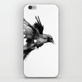 Flying Raven. tribal raven lover black and white raven decor iPhone Skin