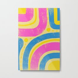 Super bright retro coloured abstract pattern Metal Print