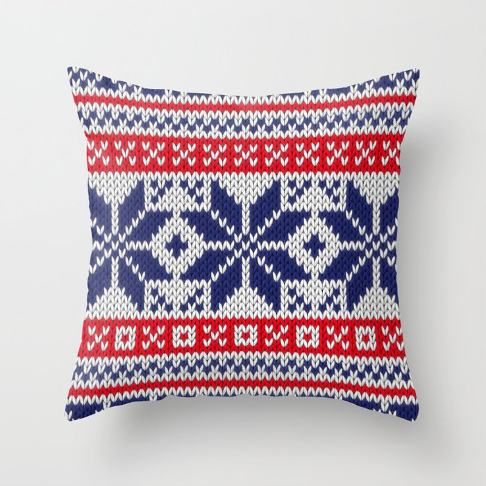 Winter knitted pattern 7 Throw Pillow