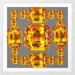 NOVEMBER GOLDEN TOPAZ FACETED GEMS GREY ART Art Print
