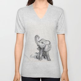 tiny elephant sitting in the corner Unisex V-Neck