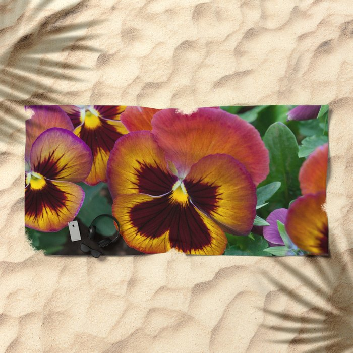 Pansy Painted Beach Towel
