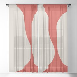 Red White Abstract aesthetic Sheer Curtain
