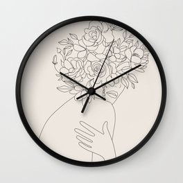 Woman with Flowers Minimal Line III Wall Clock