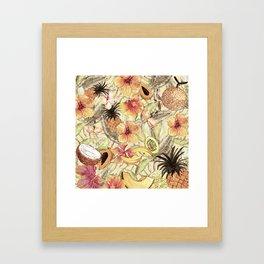 My Sepia Tropical Summer Hibiscus And Fruits Garden - Jungle Pattern Framed Art Print