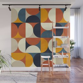 mid century abstract shapes fall winter 3 Wall Mural