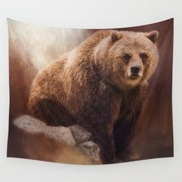 Great Strength - Grizzly Bear Art by Jordan Blackstone Wall Tapestry