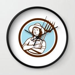 Female Organic Farmer Pitchfork Circle Retro Wall Clock