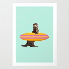 SURFING OTTER Kunstdrucke