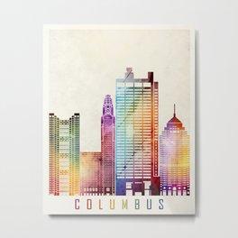 Columbus landmarks watercolor poster Metal Print
