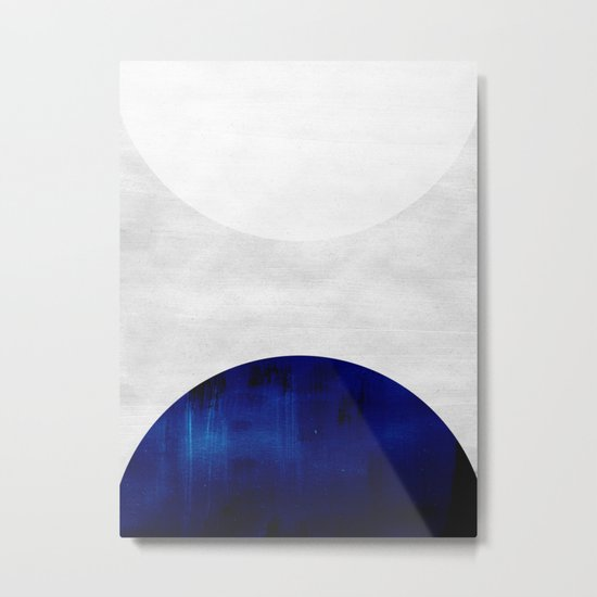 white & cobalt Metal Print
