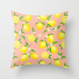 You're the Zest - Lemons on Pink Throw Pillow