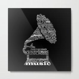Invert typographic gramophone Metal Print