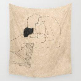 "Egon Schiele ""Lovers"" Wall Tapestry"