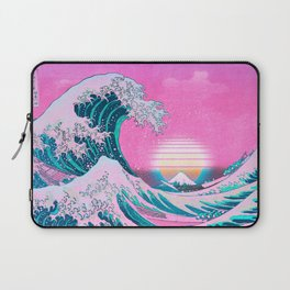 Vaporwave Aesthetic Great Wave Off Kanagawa Sunset Laptop Sleeve