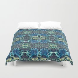 Blue Echinacea, Teal Cone Flowers, Blue Flower Dream Duvet Cover