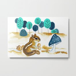Fall Chipmunk Metal Print