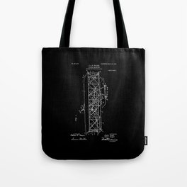 Wright Brothers Patent: Flying Machine - White on Black Tote Bag