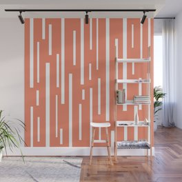 Interrupted Lines Mid-Century Modern Retro Pattern in White and Coral Blush Pink Wall Mural